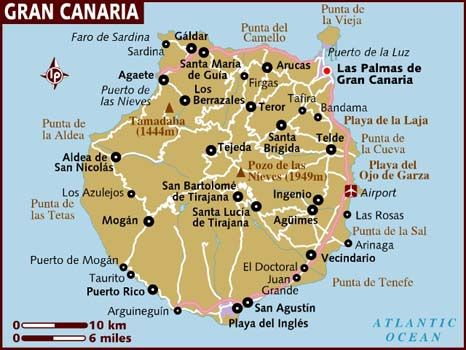 Map Of Gran Canaria Canary Islands Gran Canaria Gran Canaria