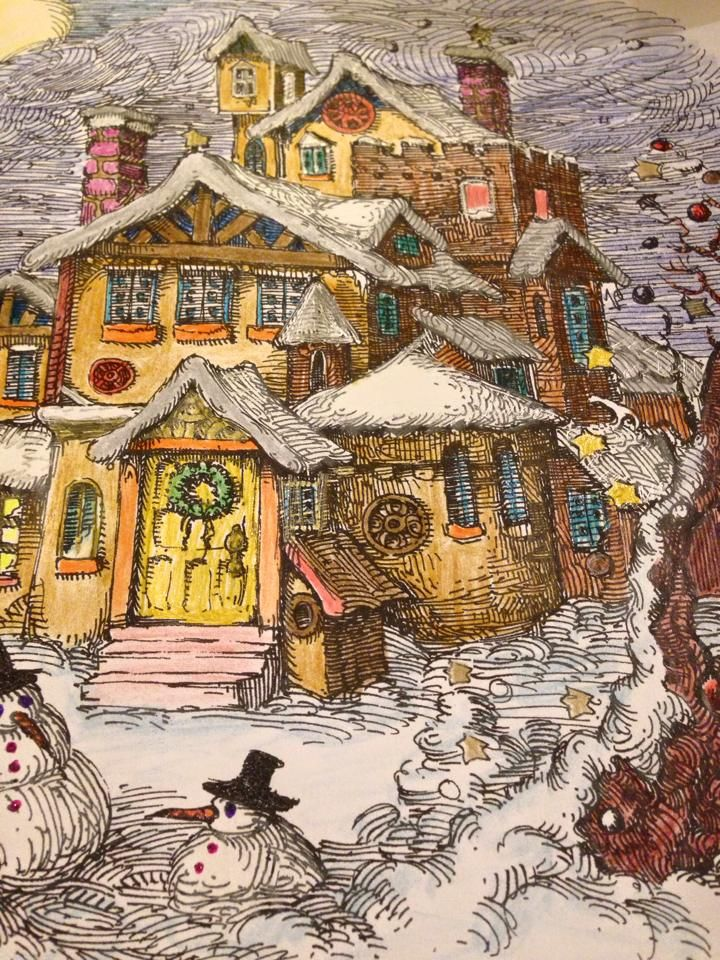 Colouring Adult Coloring Books Johanna Basford Colored Pencils Building House Drawing Christmas Art