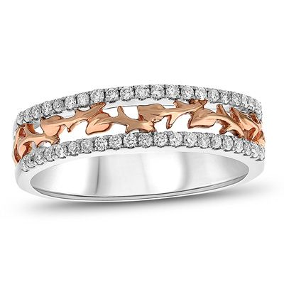 1/4+CT.+T.W.+Diamond+Vine+Two+Row+Anniversary+Ring+in+14K+Two-Tone+Gold