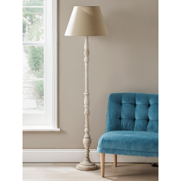 With An Elegant Turned Wood Base And White Painted Distressed