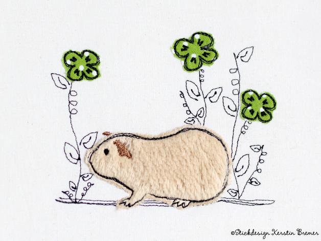 Stickdatei Meerschweinchen Blumen 10x10 Doodle