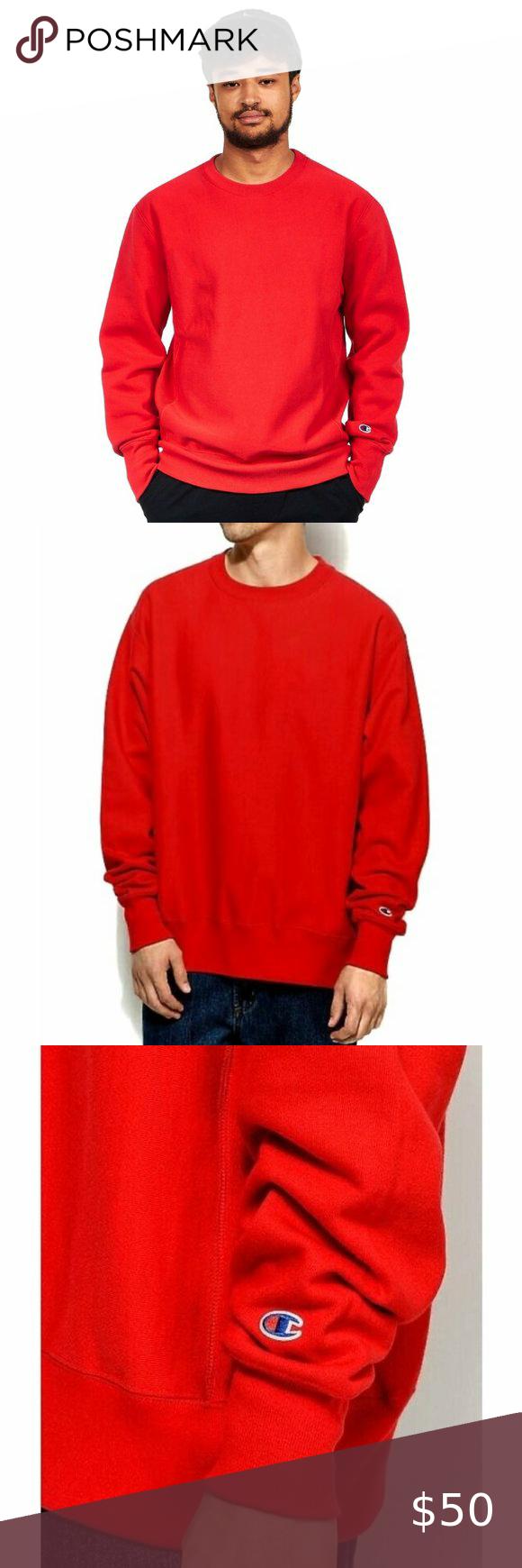 Champion Reverse Weave Red Crewneck Sweatshirt Crew Neck Sweatshirt Red Crewneck Champion Reverse Weave [ 1740 x 580 Pixel ]