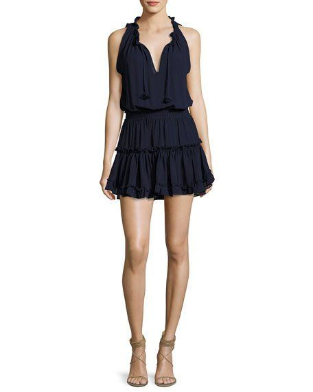 10954c296721 MISA SHIRLEY SLEEVELESS RUFFLED MINI DRESS, NAVY. #misa #cloth ...