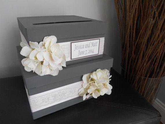 Custom Wedding Card Box 2 Tiered Charcoal Gray Blush Pink Hydrangeas Personalized Tag You Custo Card Box Wedding Custom Wedding Cards Custom Wedding Card Box