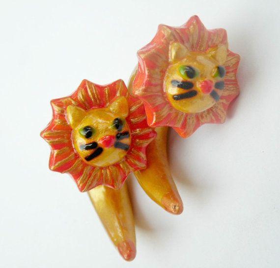 leon plugs leon ear gauges leon earrings golden by RaccoonJewelry
