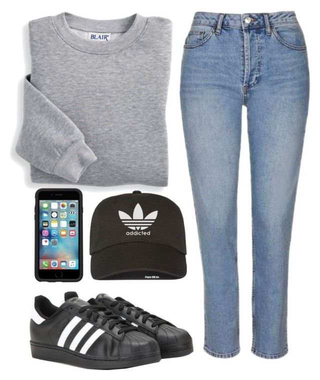 """""""Sin título #2221"""" by annie-leah ❤ liked on Polyvore featuring Blair, adidas, Topshop and OtterBox"""