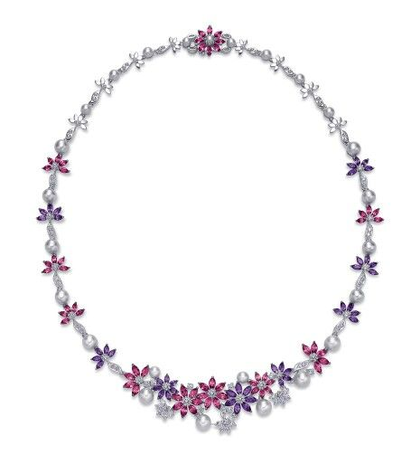 Ganjam 'Le Jardin' necklace with amethyst and rhodolite flowers interspersed with pearls and diamonds.