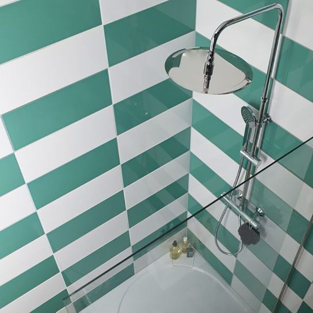 Carrelage mural vert deau 20 x 50 cm Mina  CASTORAMA  Ides maison  Pinterest