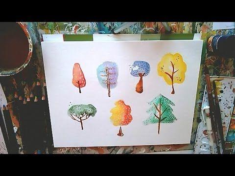 Baume Malen Aquarell Tutorial Clarissa Hagenmeyer Youtube Aquarell Malen Baum Malen Malen