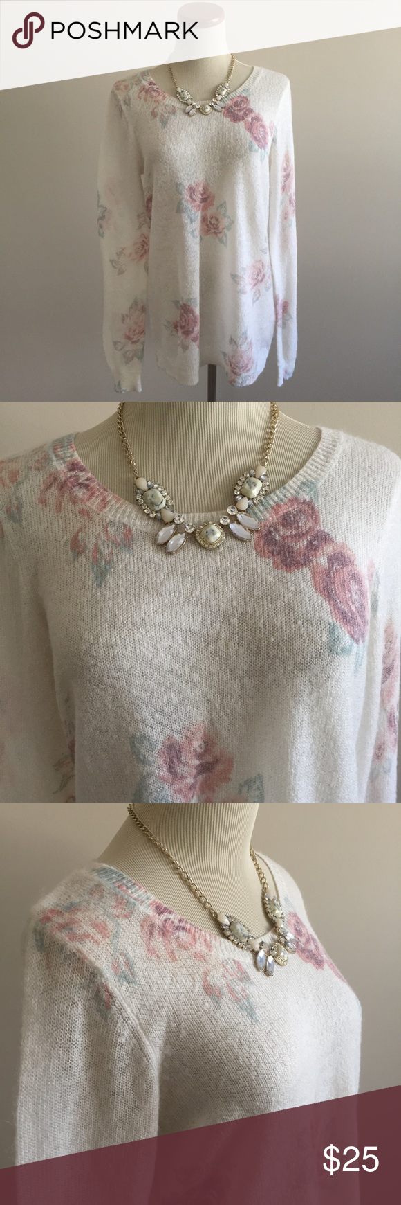 LC Lauren Conrad Floral Sweater Gorgeous rose floral tunic sweater by Lauren Conrad's LC for Kohl's collection. This sweater is thin and perfect for laying in cool weather or wearing alone in warmer months. Snow white sweater with pastel blue and pink flower detail. Long sleeves, ribbon tie keyhole back and scoop neck. EUC and size M, but the fit is a bit looser, purposefully oversized for a relaxed fit. Stock photos included for reference. Listing for sweater only. Offers welcome. LC Lauren…