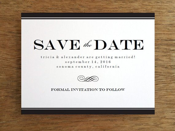 Printable Save The Date Card Template Instant Black White Da