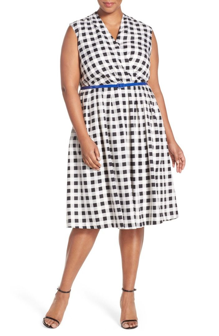 Main Image - Ellen Tracy Belted Gingham Print Surplice Fit & Flare Dress (Plus Size)