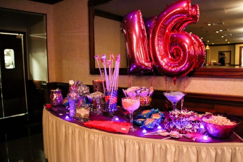easy and cute decor 16 balloons behind the candy table or drink
