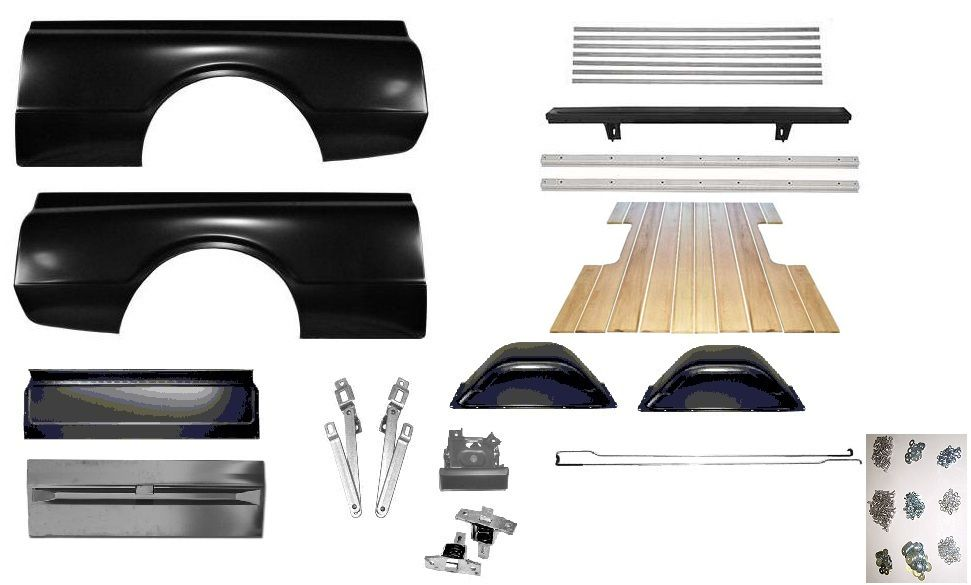 67 72 chevy c10 truck short bed complete bed kit w oak for Wood floor kits for pickups