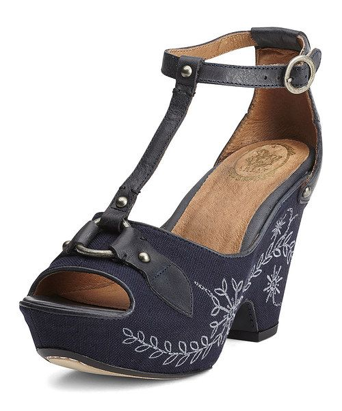 Take a look at the Midnight Vista Leather Platform Sandal - Women on #zulily today!
