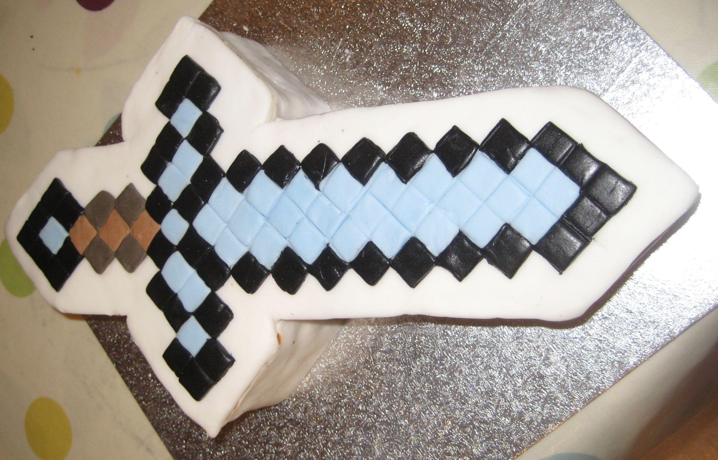 Minecraft diamond sword cake for birthday cakes ...