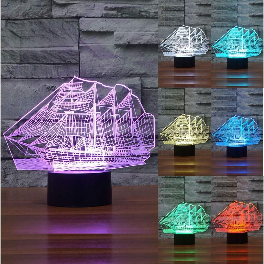 Amazon Com Zltfashion 3d Visual Optical Illusion Colorful Led Table Lamp Touch Cool Design Night Light Christmas Prank Gi Creative Gadgets Led Table Lamp Lamp