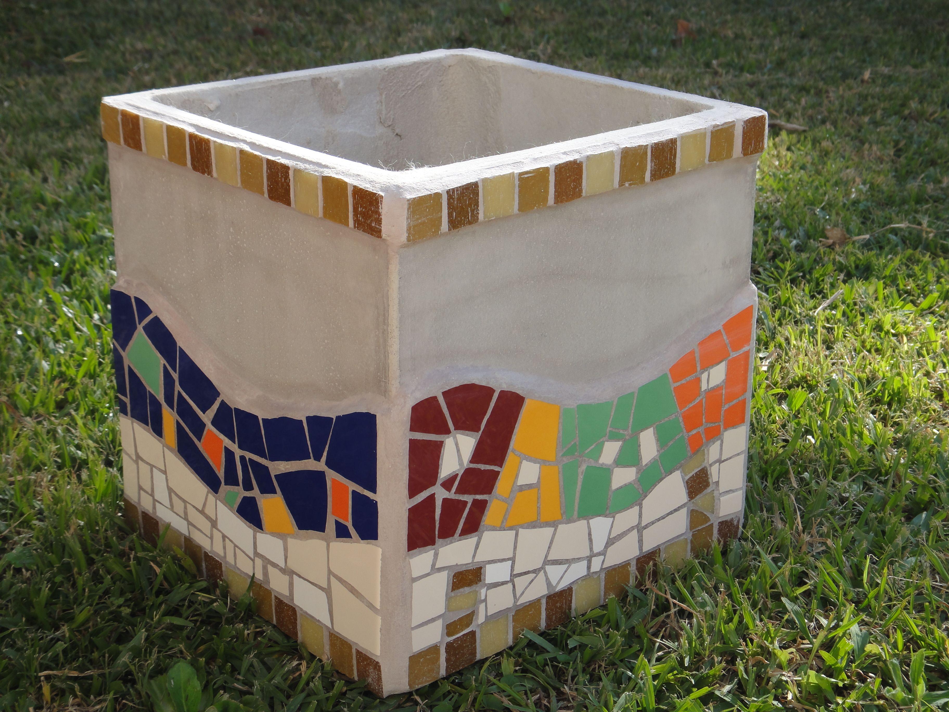Maceta de fibrocemento con guardas mosaic pots - Macetas fibrocemento ...