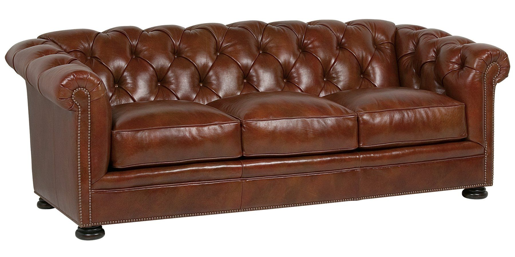 Chesterfield Tufted Leather Sofa With Antique Br Nailhead Trim