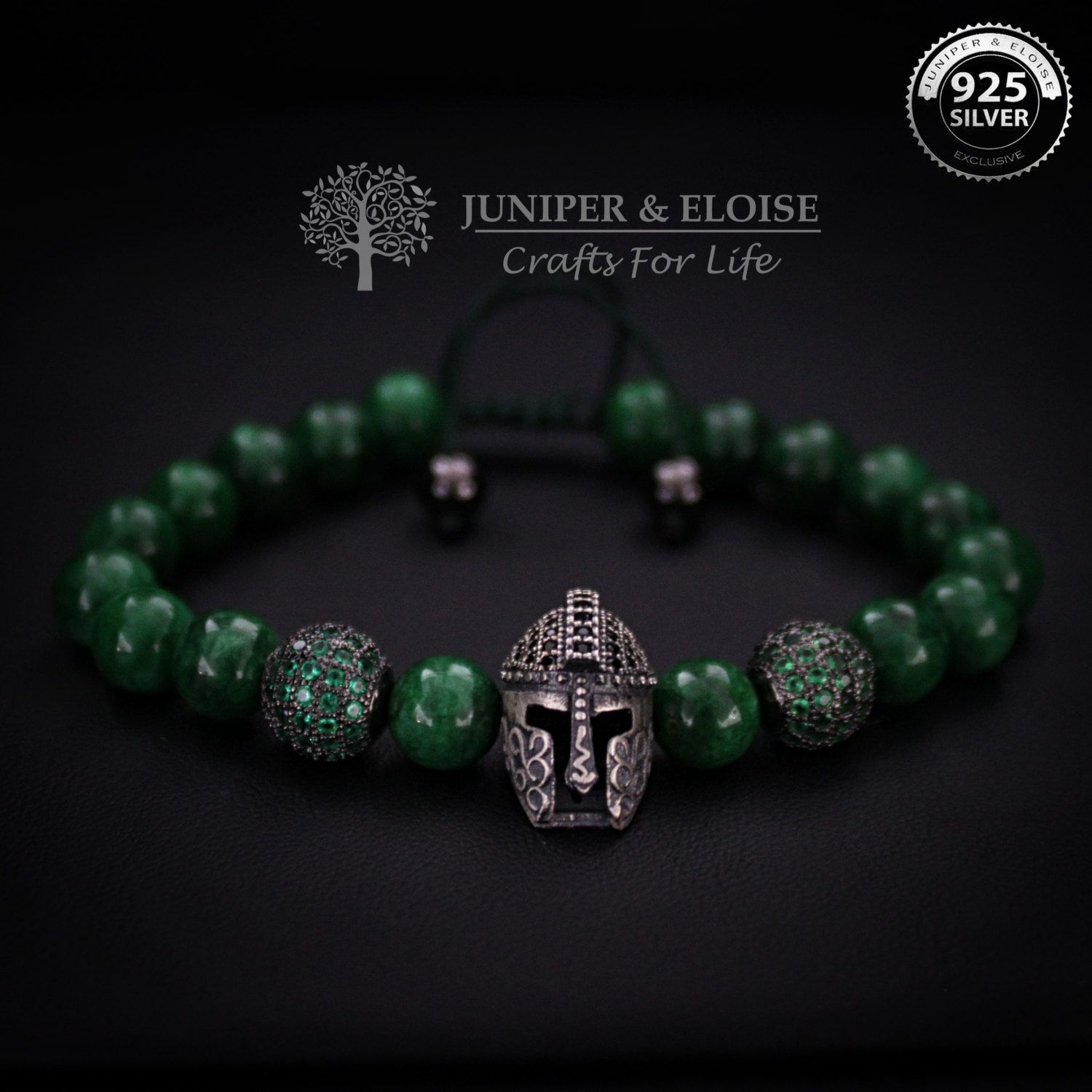 Helmet bracelet mens bracelet gift for women gift ideas emerald