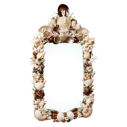 Beautiful Trumeau Style Mirror in White, Cream and Chocolate Shells