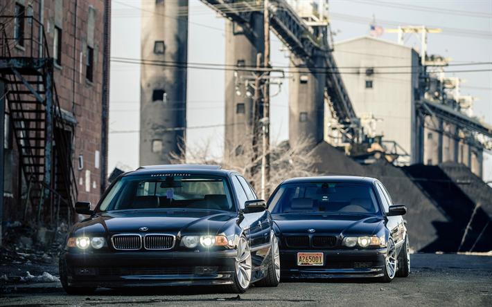 Hämta bilder 4k, BMW 7-serie, low rider, 750il, e38, hållning, germa bilar, BMW