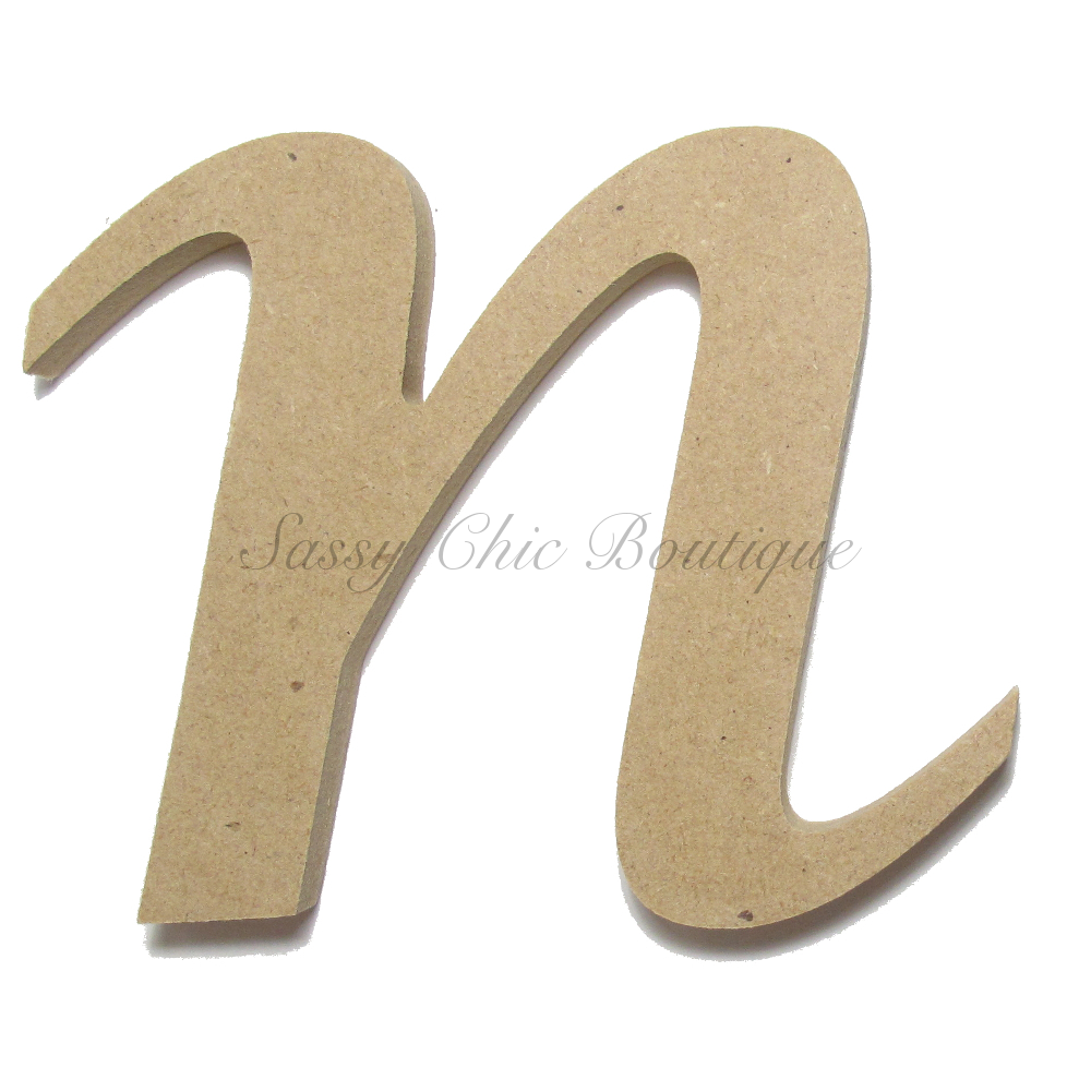 Unfinished Wooden Lowercase Letter N Lucida Calligraphy Font