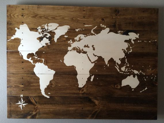 Rustic wood world map wood anniversary wedding gift handmade hand painted travel home decor wall hanging wall art home and living