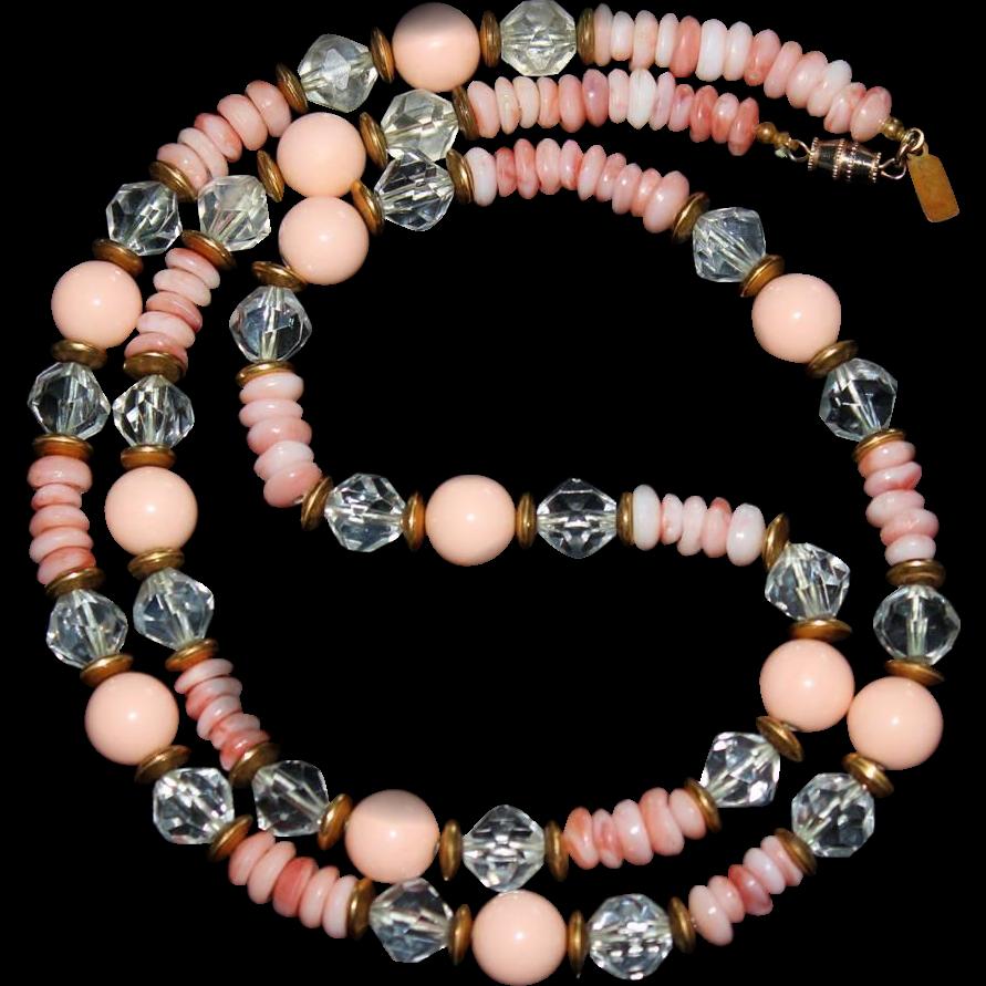 Vintage Kenneth Jay Lane KJL Lucite Necklace Angel Skin Coral, Faux Crystals & Shells 1980s