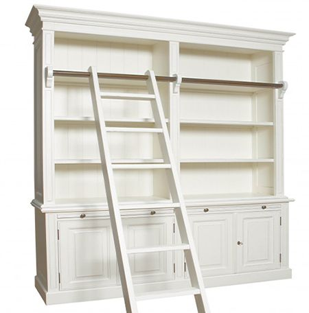 Library Bookshelf Bookcase With Ladder French Bookcase Home