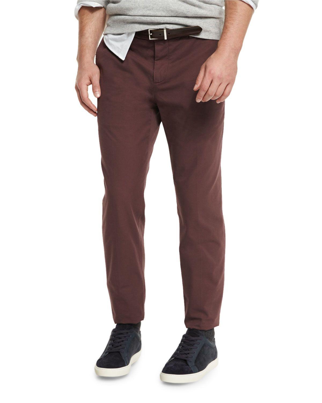 Flat-Front Cotton Pants, Maroon (Red), Men's, Size: 56 - Brunello Cucinelli