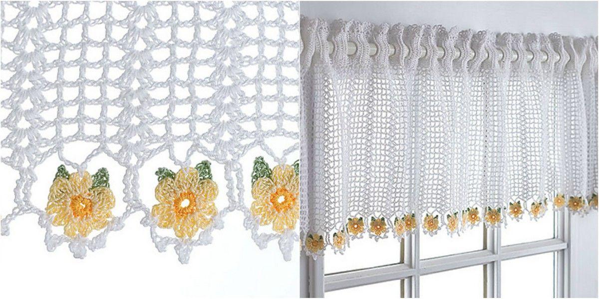 Crochet Curtain Daisy Valance [Free Pattern] | Para el hogar, Ideas ...