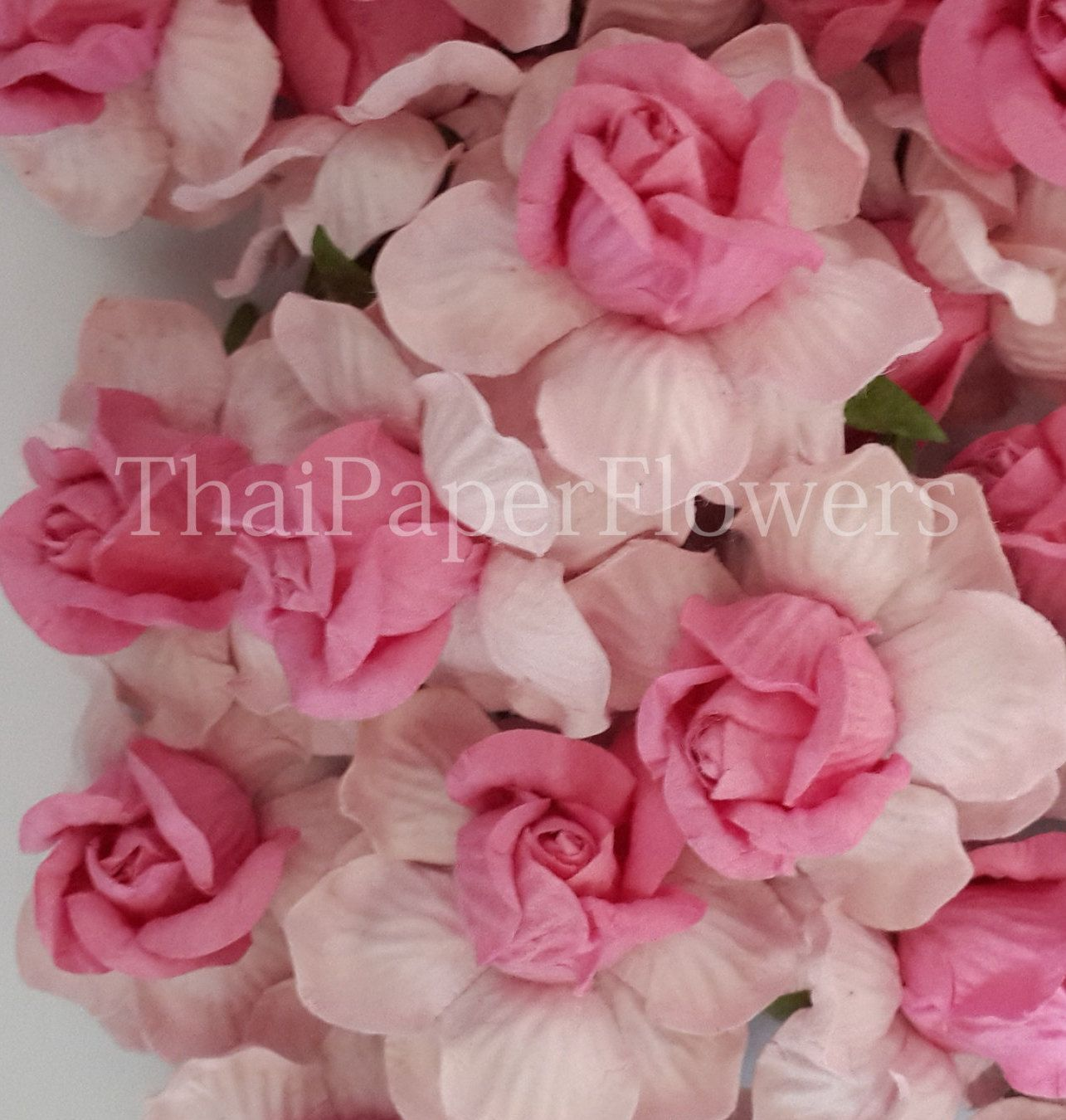 5 Large Roses 2 Tone Pink Mulberry Paper Flowers Scrapbook Craft