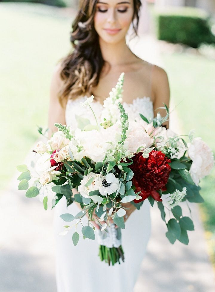 White and red burgundy wedding bouquet , bridal bouquet
