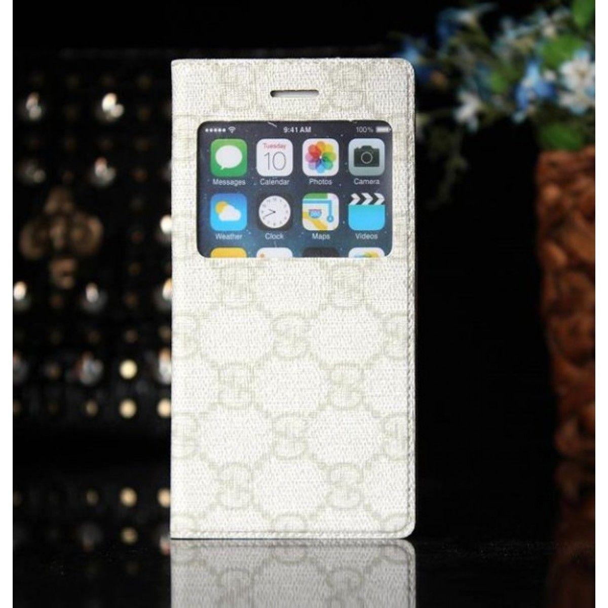 Coque Cuir iPhone 6 Gucci,étui pour iPhone 6 4.7-Blanc