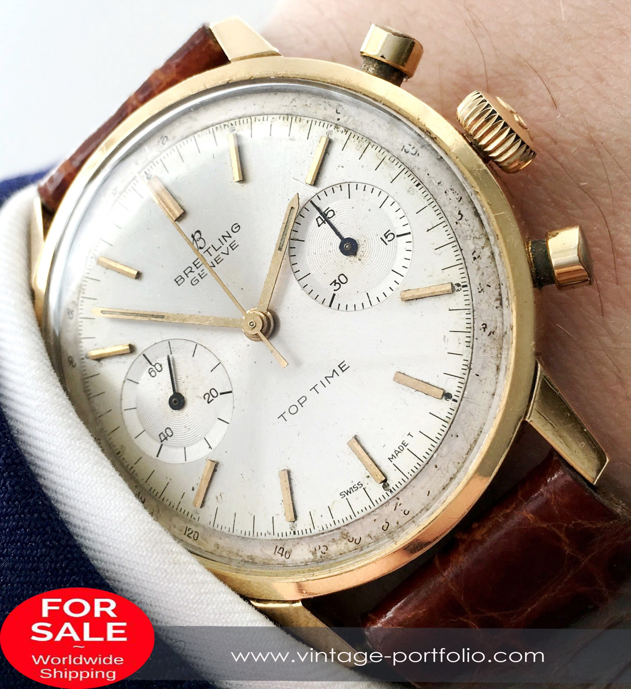 Uhr Vintage Rare Vintage Breitling Top Time Solid Gold Chronograph In 2019
