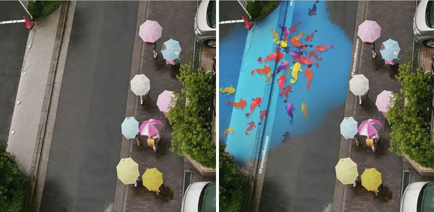 When It Rains In Seoul These Beautiful Murals Appear On The Roads - Beautiful street murals appear on roads only when it rains
