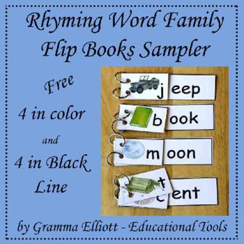 Rhyming Word Family Flip Books Sampler for K-1-2 | Keegan ...