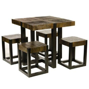 Amazon Com Rustic Square Dining Table With Four Stools Batavia