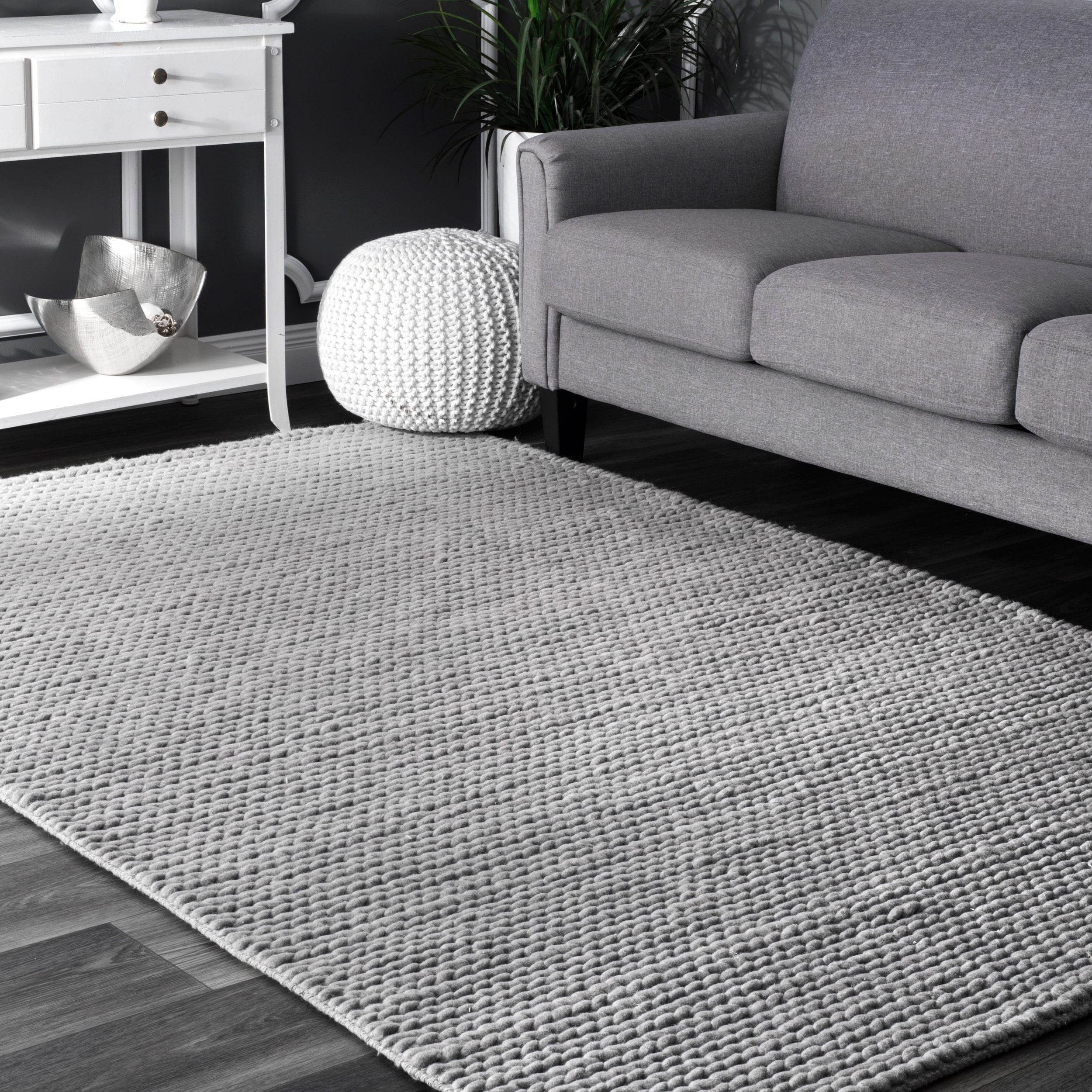 Nuloom Handmade Braided Cable White New Zealand Wool Rug