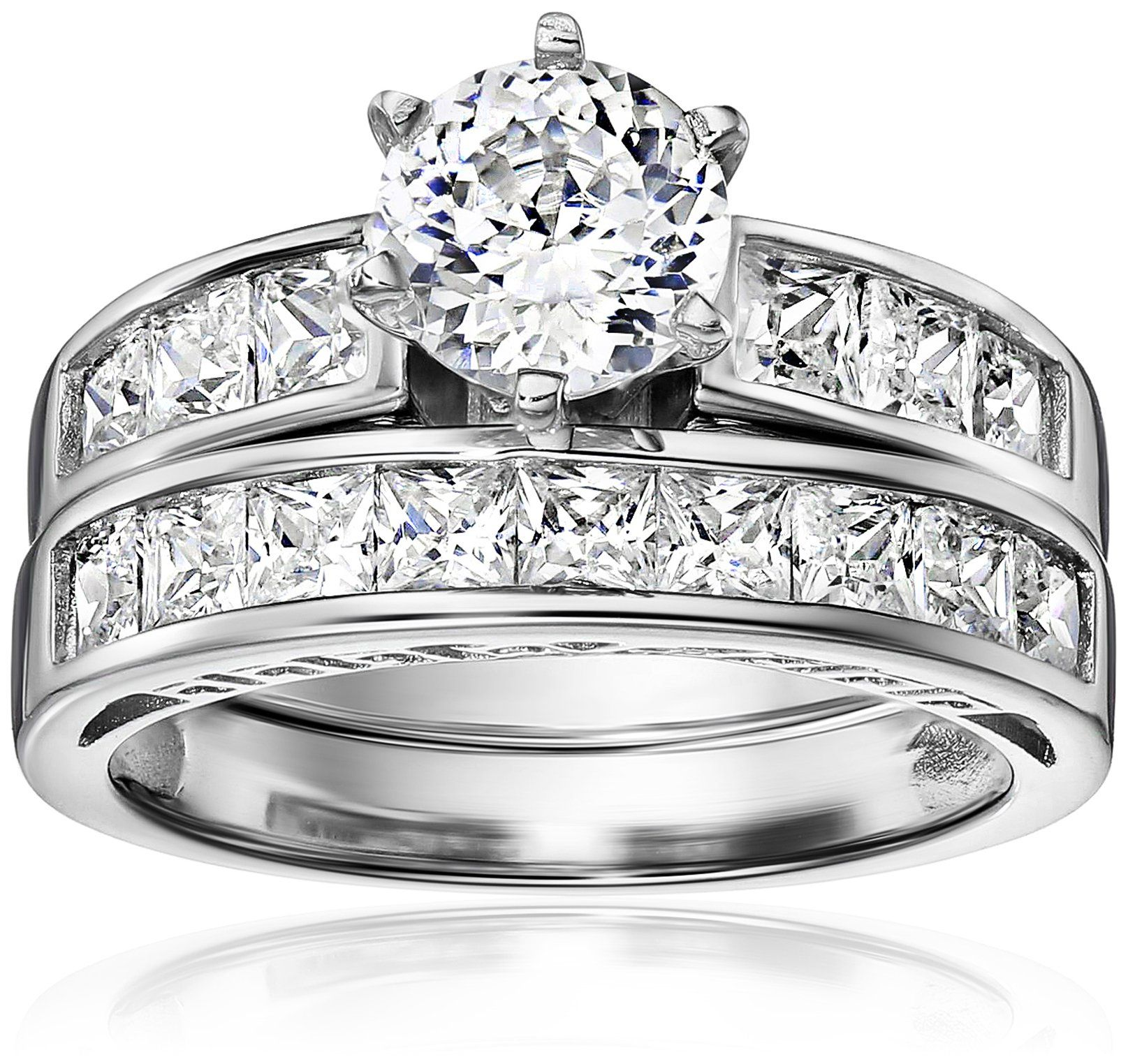 Platinum Plated Sterling Silver Cubic Zirconia Round