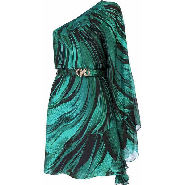 Green Silk One Shoulder Dress