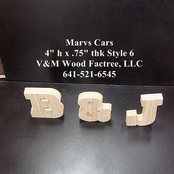 Pkg Of 3 Unfinished Stand Alone Wood Letters Style 6 For Jackarkoo25