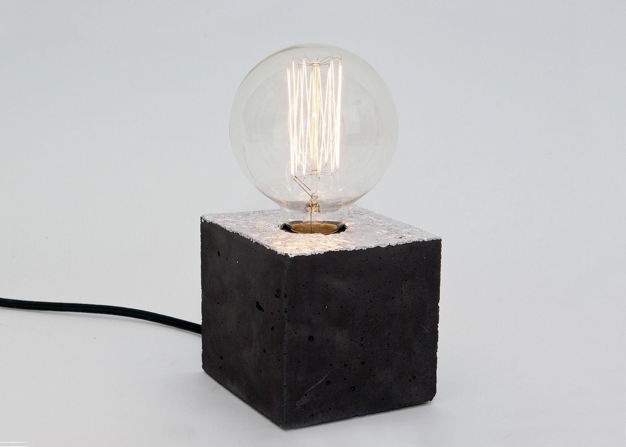 Textilkabel Le lj lamps alpha black silber tischleuchte aus schwarzem beton mit