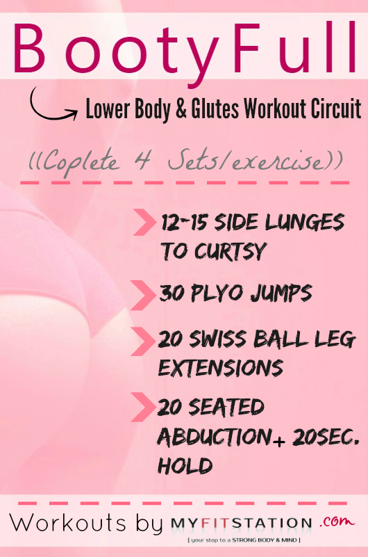 Bootyfull Lower Body Glutes Workout Printable Via Rh Com Printowt Dumbbell