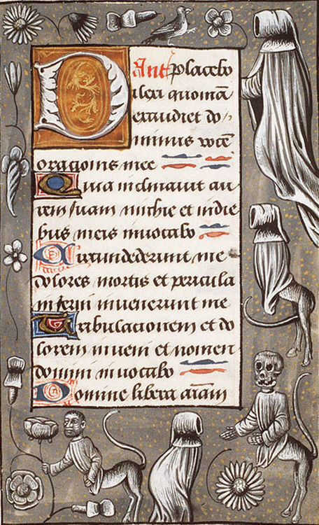 The Hague, KB, 133 E 14, f. 155r (skulls and mourners). Book of Hours (use of Rome). Southern Netherlands; c. 1500-1510.