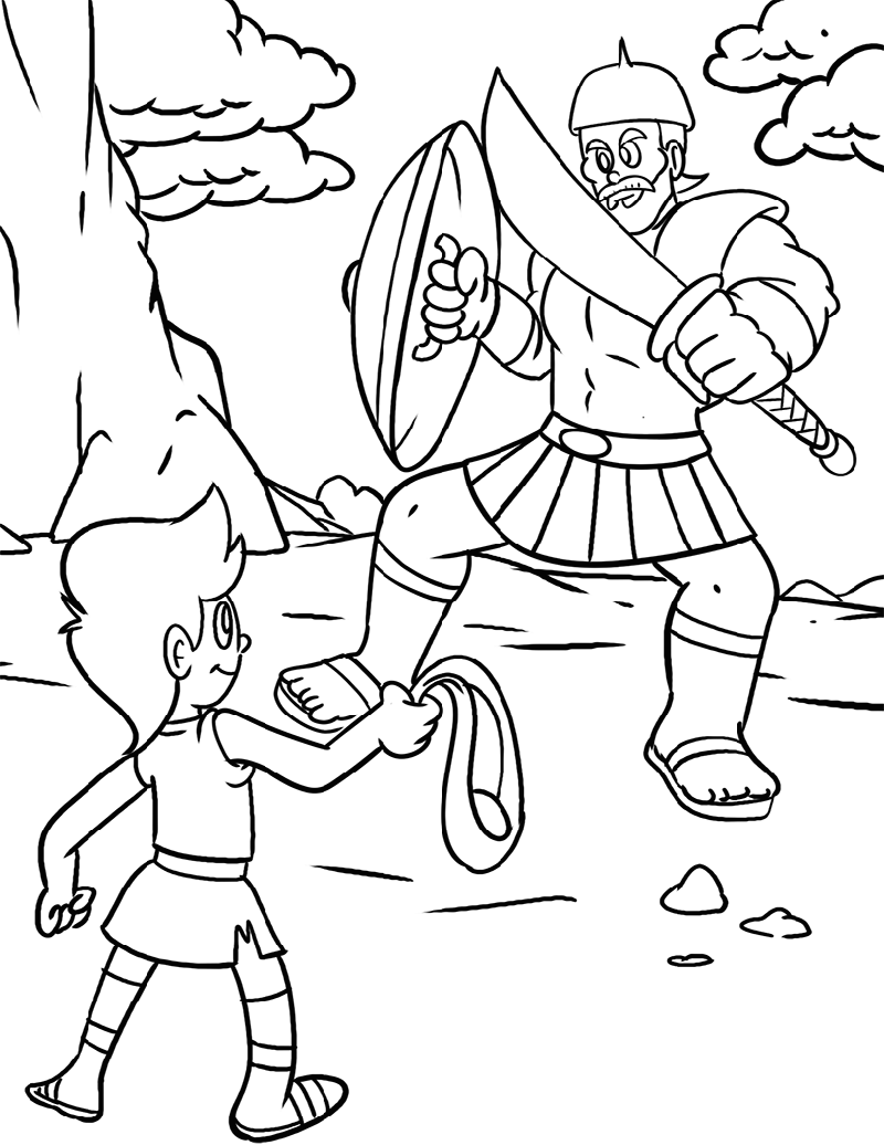 David And Goliath Coloring Page For Kids Educative Printable David And Goliath David And Goliath Craft Bible Coloring Pages