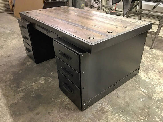 It Features A Solid Wood Top, 7 Fully Functional Solid Wood Drawers With  Steel Faces, And A Custom Steel File Cabinet Base. This Desk ...