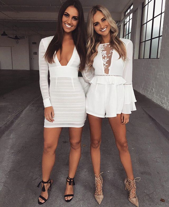 White & White Outfits for you and your bestie Left $74.95, Right $69.95