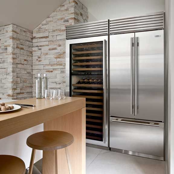 Free Picture Indoors Contemporary Stove Refrigerator: Sub Zero Stainless Steel Fridge And Wine Refrigerator